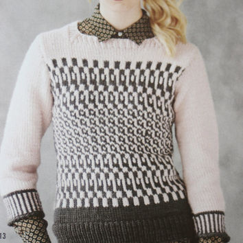 Vogue knitted sweater knitting pattern PDF Instant Download womans pullover knitting supplies epsteam knitting pattern cable sweater