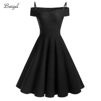 Womens Spaghetti Black Party Dress Off-the Shoulder Sexy Night Club Dress Retro Elegant Style 50s Pin up Swing Vintage Dress