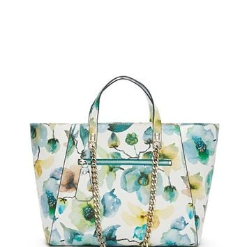 Nikki Floral-Print Chain Tote | GUESS.com