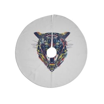 "Frederic Levy-hadida ""Stencil Tiger 2"" Black Blue Digital Tree Skirt"