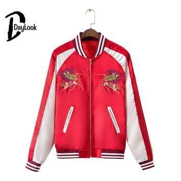 DayLook Autumn Women Bomber Jacket Dragon And Phoenix Bird Print Back Letter Embroidery Baseball Coat Souvenir Jacket Yokosuka