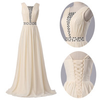Sexy Strapless Chiffon Evening Formal Party Ball Gown Prom Long Bridesmaid Dress