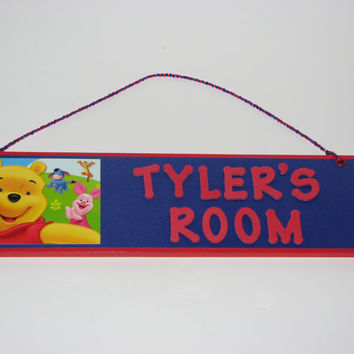 Winnie the Pooh Personalized Room Decor Sign - Piglet  Tigger Eeyore Kids Room Sign