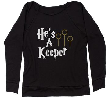He's A Keeper Matching Quidditch Slouchy Off Shoulder Oversized Sweatshirt