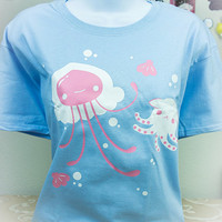 Kawaii Fairy Kei Pastellyfish Jellyfish and Octopus Pastel Womens T Shirt