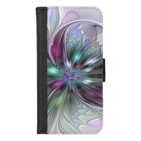 Colorful Fantasy Abstract Modern Fractal Flower iPhone 8/7 Wallet Case