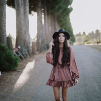FALL VIBES MAUVE DRESS