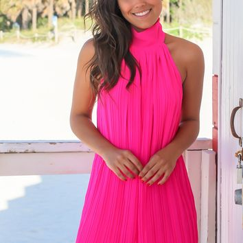 Hot Pink High Neck Pleated Dress