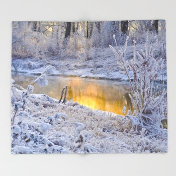 It's Gold Outside Throw Blanket by Mixed Imagery