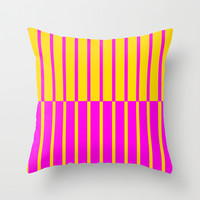 Canary Zebra Plays Piano Throw Pillow by Gréta Thórsdóttir  #stripes #retro #canary #zebra #yellow #pink #zoo