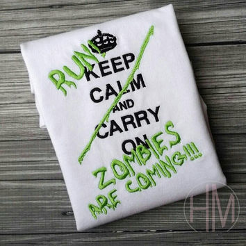 Run Zombies Are Coming - Zombie Applique Shirt