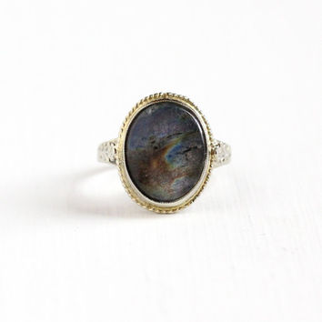 Vintage 14k White Gold Labradorite Ring - Size 4.5 Art Deco Floral Filigree 1920s 1930s Flower Shoulders Fine Gemstone Engagement Jewelry
