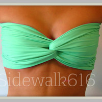Mint Green Bandeau Top Spandex Bandeau Bikini Swim Bandeau Swimsuit