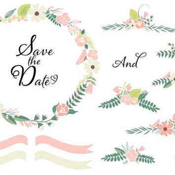 DIY Wedding Clipart Floral Clip Art Graphic Pack Frames Wreath