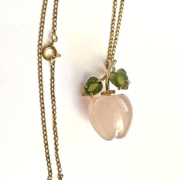 "Vintage Pink Carved or Cut Glass Apple Pendant with Prong Set Jade Leaves - Suspended from an 18"" Gold Filled Chain, Pink Jewelry"