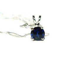 Sapphire Necklace, Sterling Silver Chain, 1.05 Carats, Lab Created