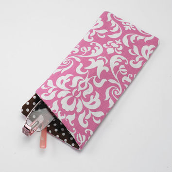 Sunglasses Case, Eyeglasses Case, Glasses Case in Pink and White Damask Fabric