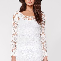 Reverse Bodycon Crochet Dress - Womens Dress - White -