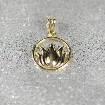 Solid 14k Gold Lotus Circle Pendant
