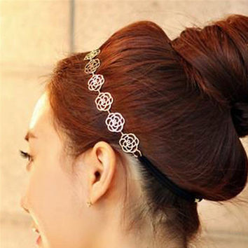2017 New arrival Hair Headdress flower Elastic Rope Fashion Elegant Rose Fine Hair accessories for women korean Beauty Maquiagem