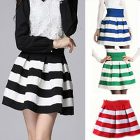 Elastic Waist Striped Pleated Mini Skirt