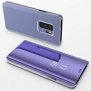 Samsung Galaxy S9 PlusCase,Electroplating Ultra-thin Translucent Mirror Clear Luxury Shockproof Protective Metal Aluminum Smart View Flip Stand Cover Case for Samsung Galaxy S9 Plus Purple