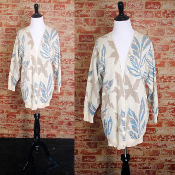 Vintage 1990s Deadstock Cream Pastel floral HIPSTER Oversized over sized long drapey Grandpa GRUNGE sweater coat open CARDIGAN