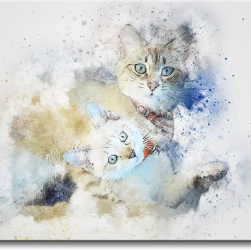 Kittens Painting Picture on Stretched Canvas, Wall Art Décor, Ready to Hang