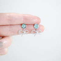 Cute bow mint earrings - Dainty bow earrings - Mint earrings - silver earrings - Rhodium plated jewelry - gift for women - under 25 -
