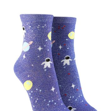 Space Print Crew Socks