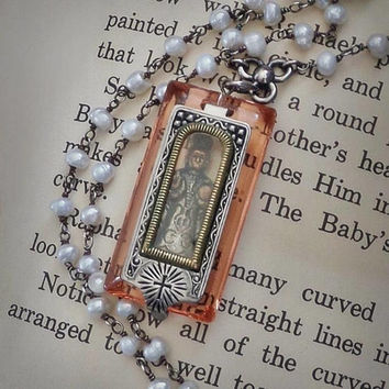 Antique Saint Infant JESUS of Prague Pocket Shrine Necklace, Sterling PEARL Chain Religious Pendant
