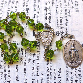 St. Dymphna Chaplet - Saint Chaplet, Catholic, Light Green Faceted Glass Beads