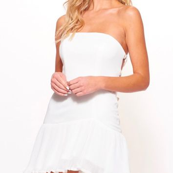 strapless bodycon mini dress with pleated chiffon trim and criss cross open back in white