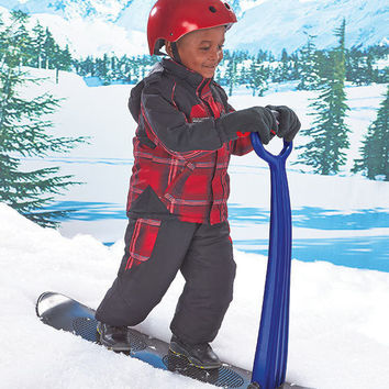 Youth Snow Scooter Snowboard With Handle Stand Up / Sit Ride On Toy Upright Sled