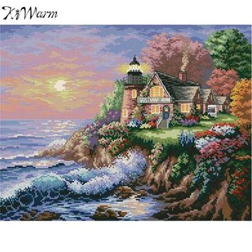 KiWarm New Seascape Pattern DIY Cross Stitch Craft Kit Embroidery Painting For Home Decor Handmade Art Crafts DIY Gifts 44X36cm