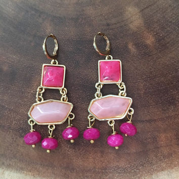 Hot Pink Earrings, Gold Earrings, Trendy Earrings, Dangle Earrings,Womens Earrings, Gift for Her, Gift