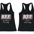 Cute Matching Tank Tops for BFF - Crazy BFF Floral Print Best Friend Tank Tops