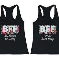 Cute Best Friend Tank Tops - Crazy BFF Floral Print Matching Tanks