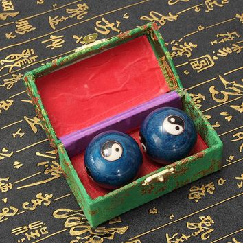 Overvale 2Pcs Chinese Yin Yang Fitness Handball Body Massage Ball Health Exercise Stress Baoding Balls Gemstone Home Decor Craft