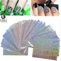 Sara Nail Salon  24Sheets Vinyls Print Nail Art DIY Stencil Stickers For 3D Nails Leaser Template Stickers Supplies STZK01-24