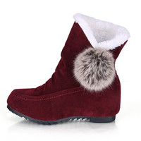 Womens Cute Comfy Velvet Winter Boots