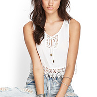 FOREVER 21 Crochet-Trimmed Crop Top Cream