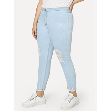 Plus Light Wash Ripped Jeans