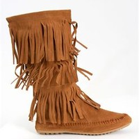 Nature Breeze Cherokee Fringed Moccasin Boots in Cognac