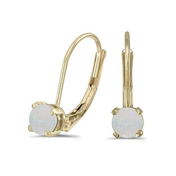 14K Yellow Gold Round Opal Lever-back Earrings (4 mm)