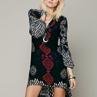 Free People Womens Peacemaker Print Shapeless Dress - Black, XS