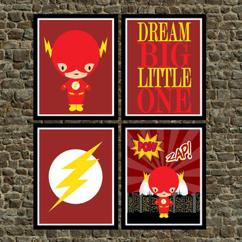 Set of 4 - Super Hero The Flash Wall Art Prints, The Flash, Cityscape, Dream Big Little One - Nursery Prints