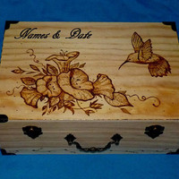 Rustic Wedding Card Box Wood Card Box Hummingbird Keepsake Box Personalized Engraved Wood Box Hummingbird Memory Box Ready to Ship Wood Gift