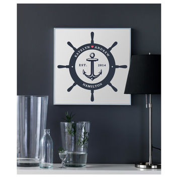 Nautical Anchor Art Poster, PRINTABLE Nautical Home Décor Ship Wheel, Anchor Wall Art, Nautical Wedding, Personalized Navy Blue Wedding Gift
