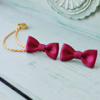 Ruby Satin Bows Double Gold Chain Ear Cuff (Pair)